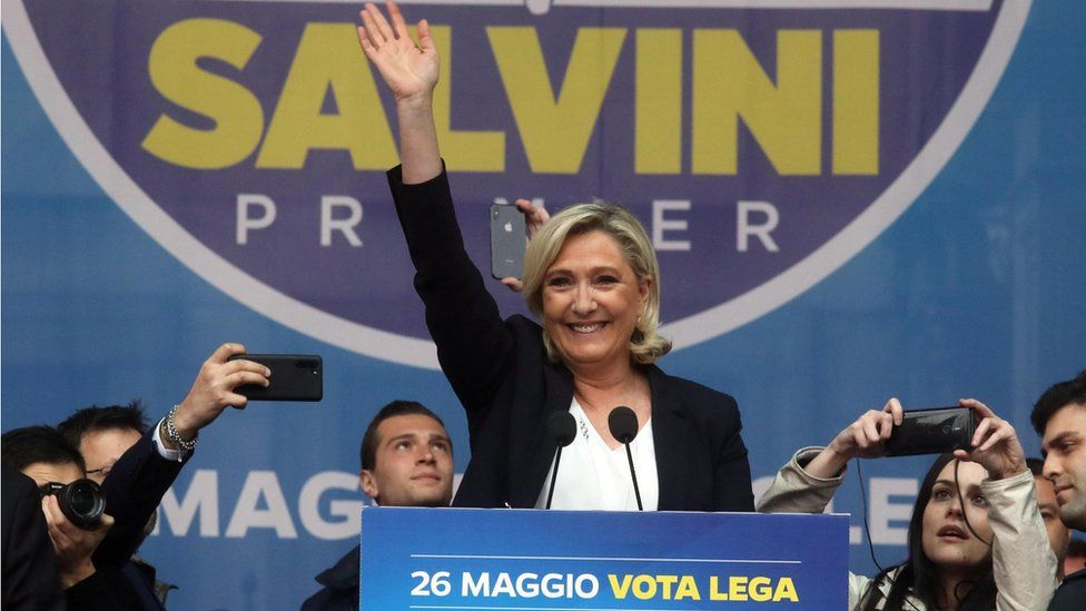 Marine Le Pen, president of the Rassemblement National (RN) far-right party attends a rally with leaders of other European nationalist parties