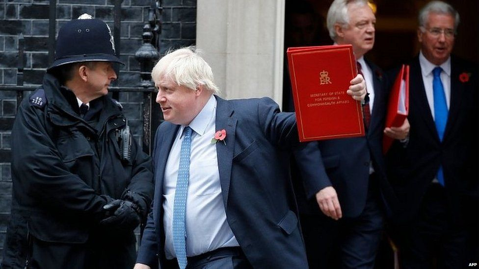 Boris Johnson and other cabinet ministers leaving Tuesday's meeting