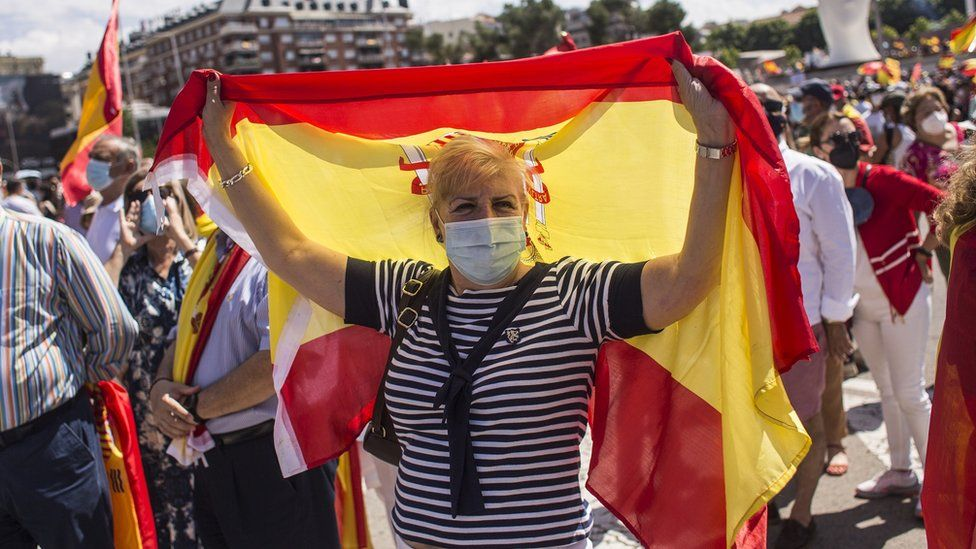 A demonstrator holds a flag
