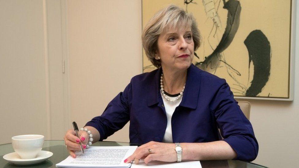 Theresa May prepares her speech