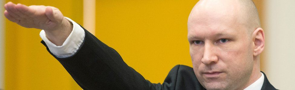 Anders Behring Breivik in court in Skien, Norway, 15 March 2016
