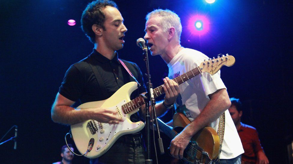 Albert Hammond Jr of The Strokes and tennis player John McEnroe perform at Petty Fest NYC in 2012