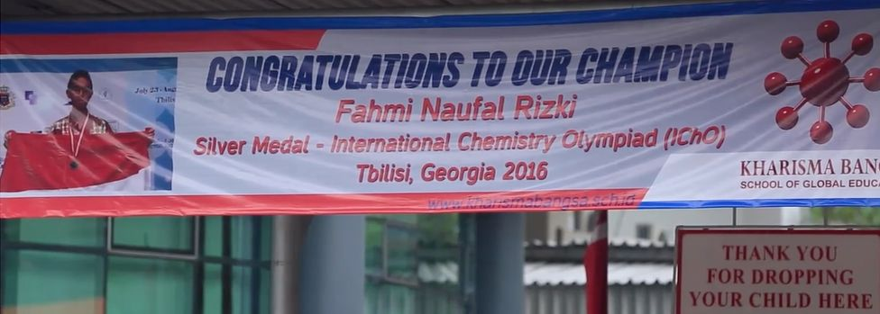 A banner at a school in Indonesia
