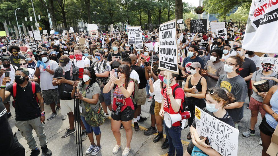 People protest in the centre of Atlanta