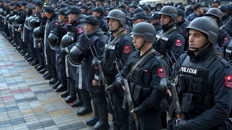 Albanian Police forces line up in front of Elbasan Arena stadium