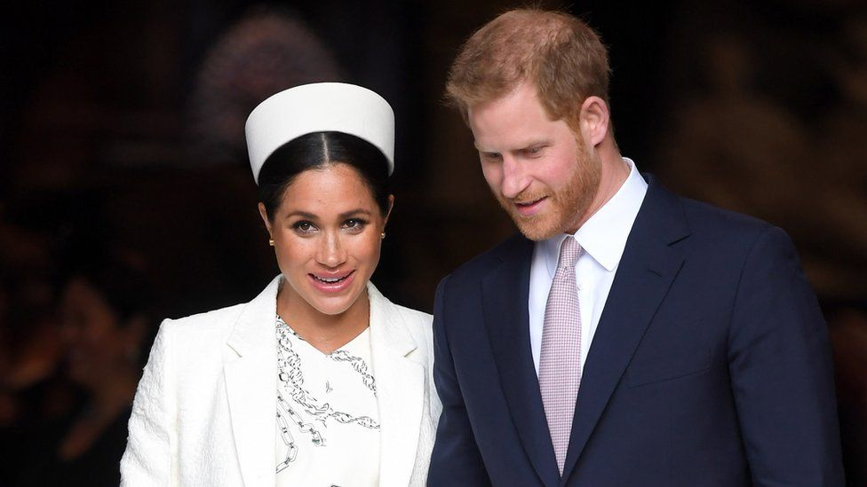 Meghan and Harry are pictured on Commonwealth Day