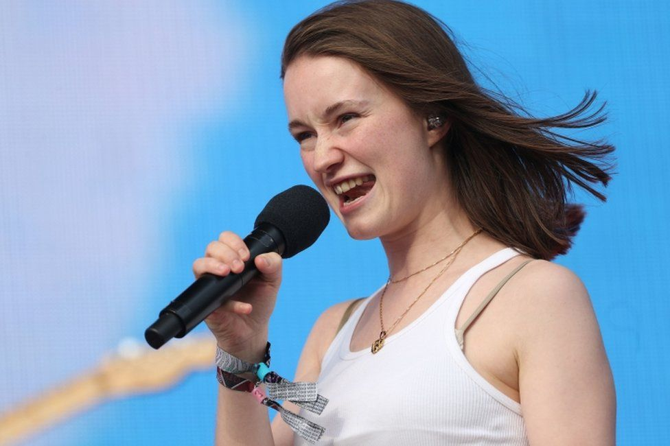 Sigrid performing on the Other Stage at Glastonbury 2019