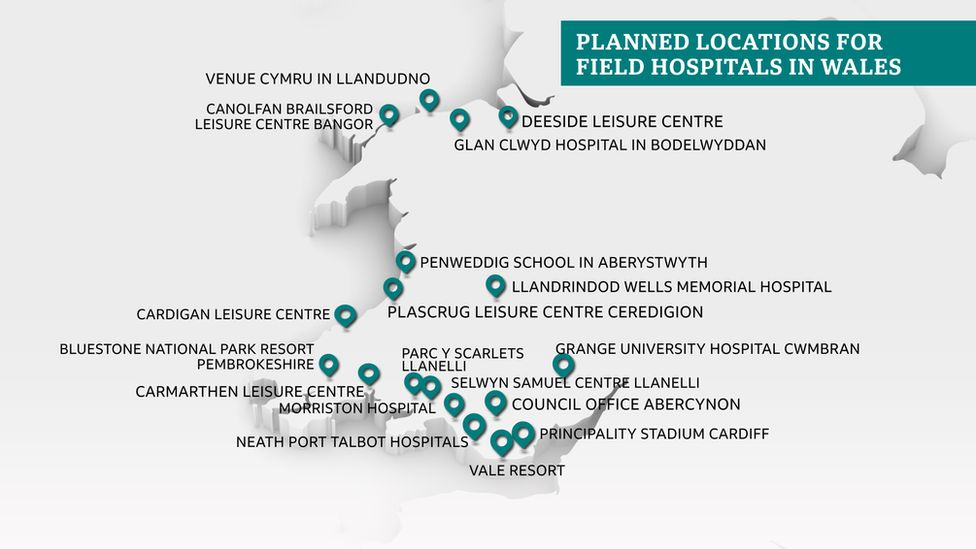 Map of where extra beds will be in Wales