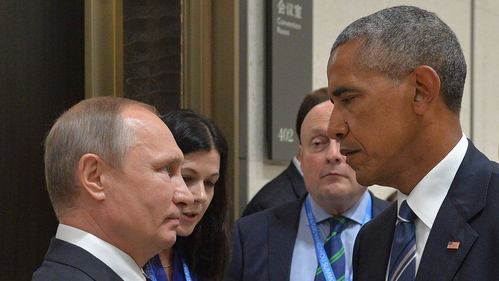 Russian President Vladimir Putin (L) meets with his US counterpart Barack Obama on the sidelines of the G20 Leaders Summit in Hangzhou on September 5 2016