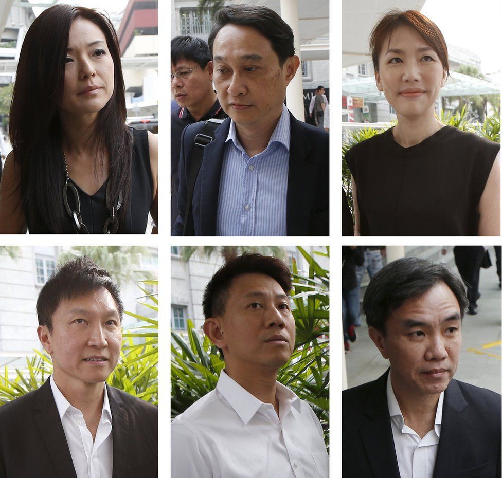 A combination photo shows City Harvest Church members (top L-R to bottom L-R), former finance manager Serina Wee, former fund manager Chew Eng Han, former finance manager Sharon Tan, founder Kong Hee, deputy senior pastor Tan Ye Peng and former treasurer John Lam