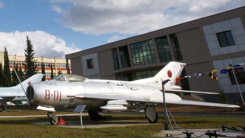 Archive photo of Mig aircraft on display in Tirana's Arms Museum