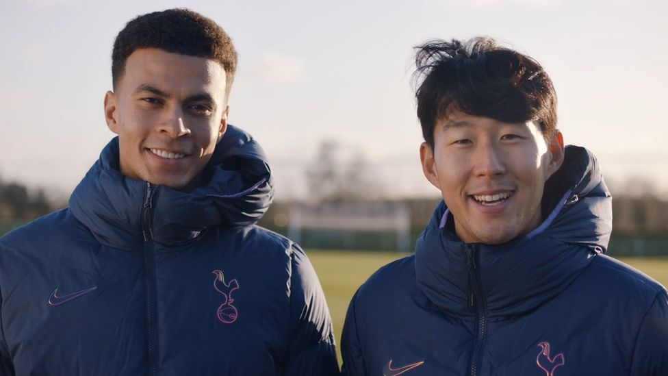 Still from film of Dele Alli and Son Heung-min