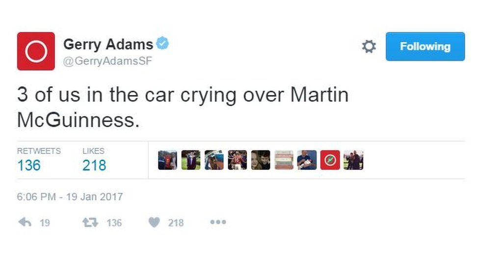 Gerry Adams reaction on Twitter