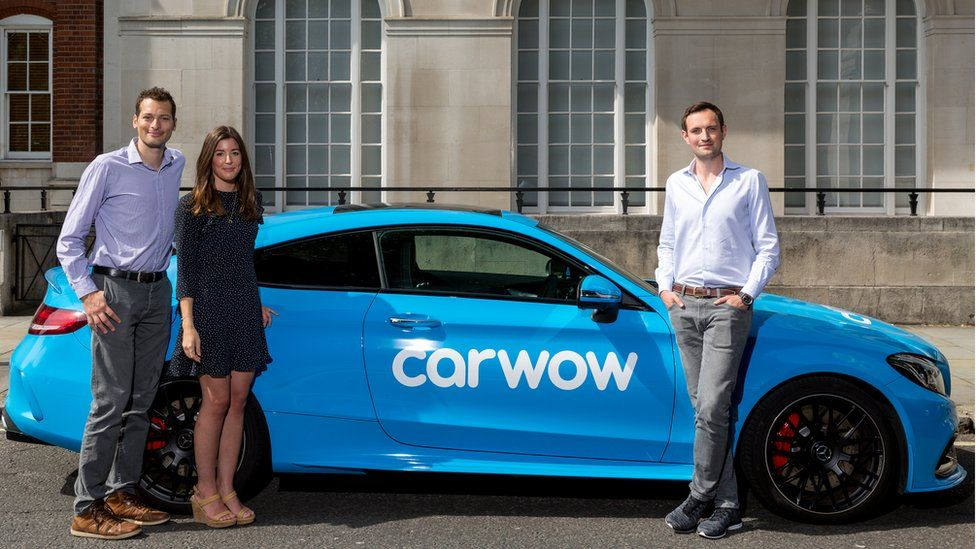 David Santoro, chief technical officer, Carwow (left), Alexandra Margolis, co-founder and creative director, James Hind, founder and chief executive Carwow.