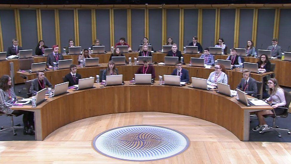 Youth Parliament in the Senedd on Saturday