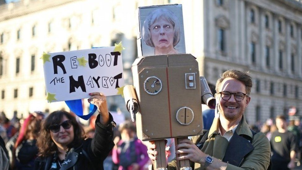 """Anti-Brexit campaigners take part in the People""""s Vote march"""