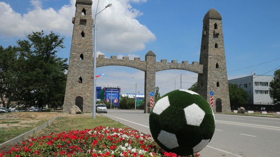 : A football flowerbed near an arch at the entrance to the Grozny Airport in Grozny, Russia's Chechen Republic, before the arrival of Egypt's national football team ahead of the FIFA World Cup Russia 2018.