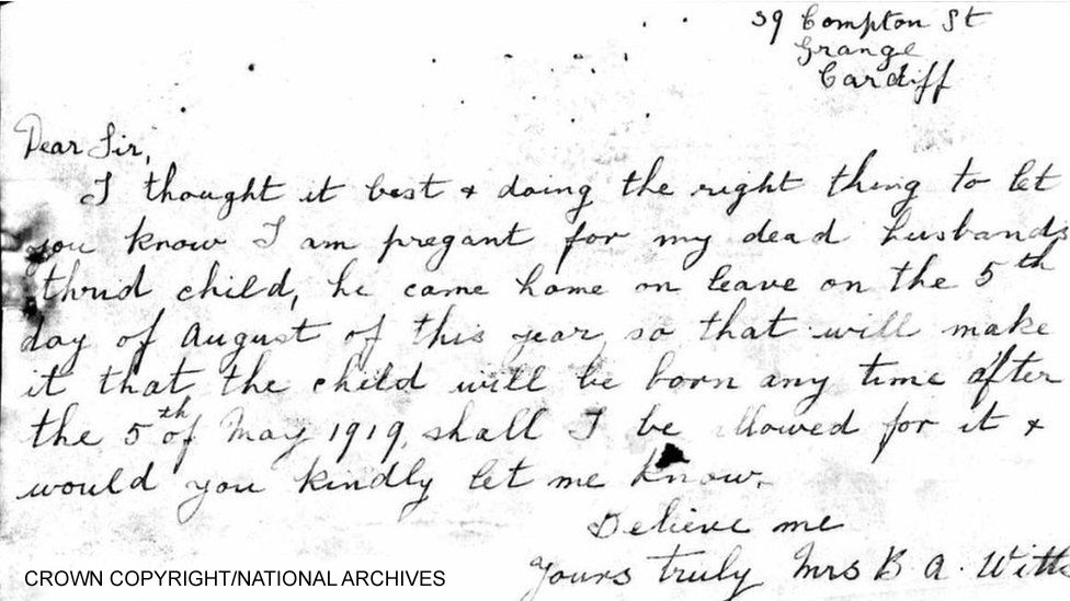 Tom Witts's widow's letter