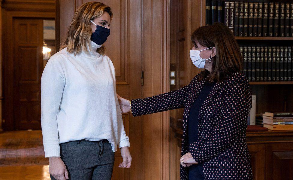 President of Greece Katerina Sakellaropoulou (R) meets former Olympic champion Sofia Bekatorou on 18 January