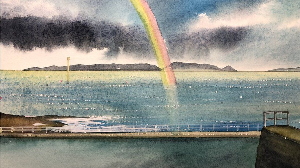 Watercolour painting of a rainbow over Guernsey bathing pools