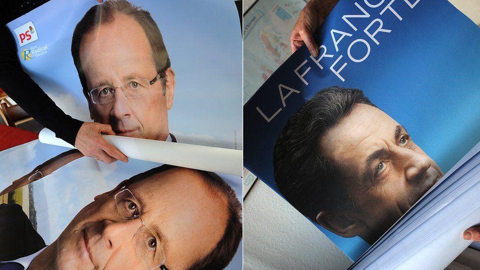 Campaign photos of Francois Hollande and Nicolas Sarkozy in the 2012 presidential election