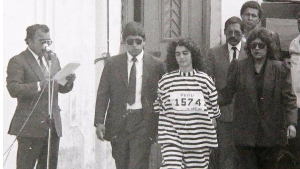 Shining Path rebel Maritza Garrido Lecca is shown to the press after her arrest, in Lima, Peru September 12, 1992