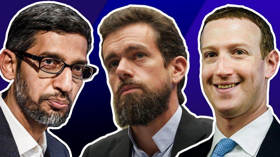 A three-part composite shows Sundar Pichai, Jack Dorsey and Mark Zuckerberg