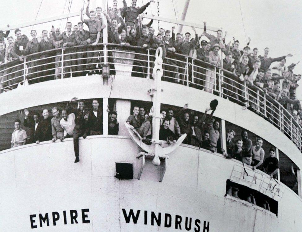 Empire Windrush arrives at Tilbury Docks from Jamaica