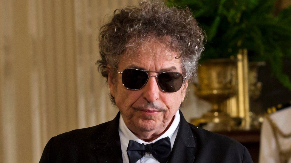 A file picture dated 29 May 2012 shows US folk music legend Bob Dylan in the East Room of the White House