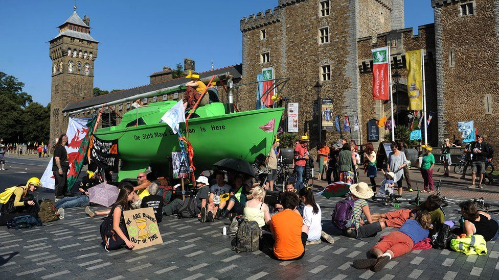 Protesters outside Cardiff Castle