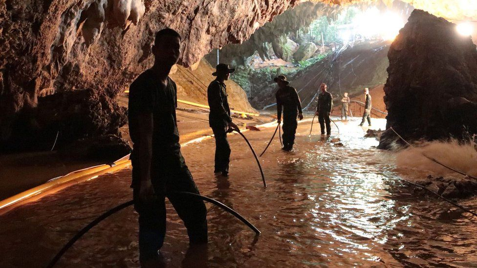 Thai military inside the cave assisting with the rescue of the 12 trapped boys on 7 July 2018