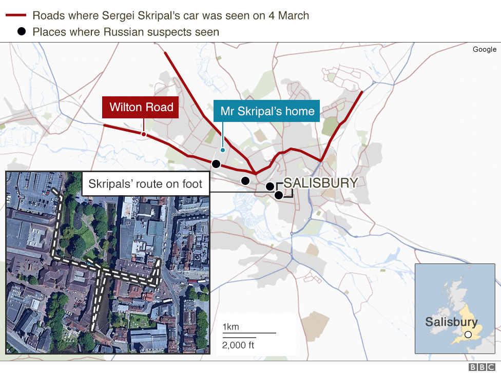 Map showing sightings of the Skripals and the Russian suspects