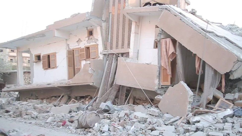 Photograph posted by anti-IS activist group purportedly showing destruction in the Badu district of Raqqa (21 August 2017)