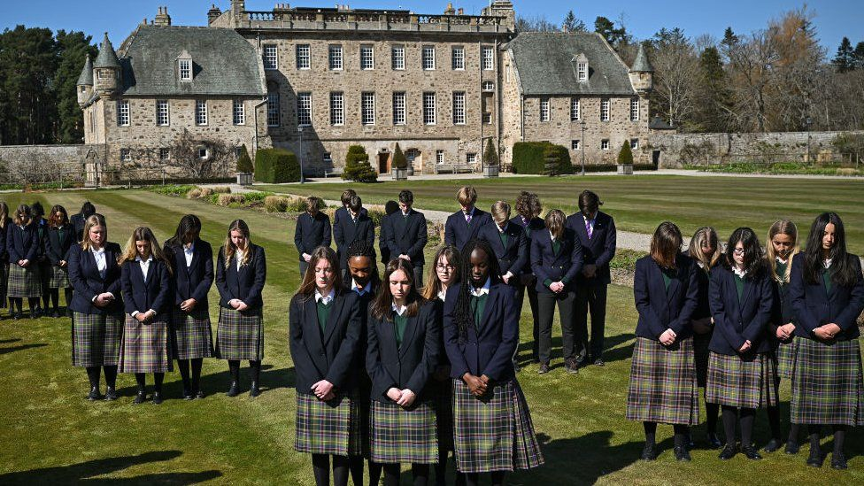 Pupils gather at Gordonstoun to observe the minute's silence for Prince Philip