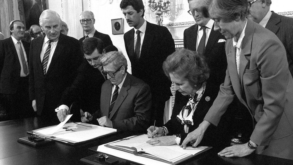 In 1985, the then Irish Prime Minister Garret FitzGerald and British PM Margaret Thatcher signed the Anglo-Irish Agreement