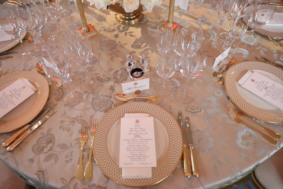 The table at which US President Donald Trump will sit at Winfield House