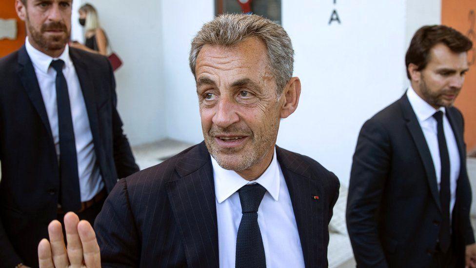 Former French President Nicolas Sarkozy (C) seen here in Madrid, Spain, 29 September 2021