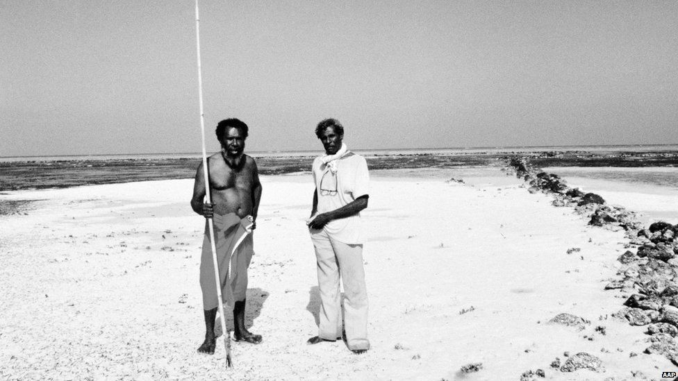 Eddie Mabo (left) and Jack Wailu at home on the island of Mer, Torres Strait, 1990