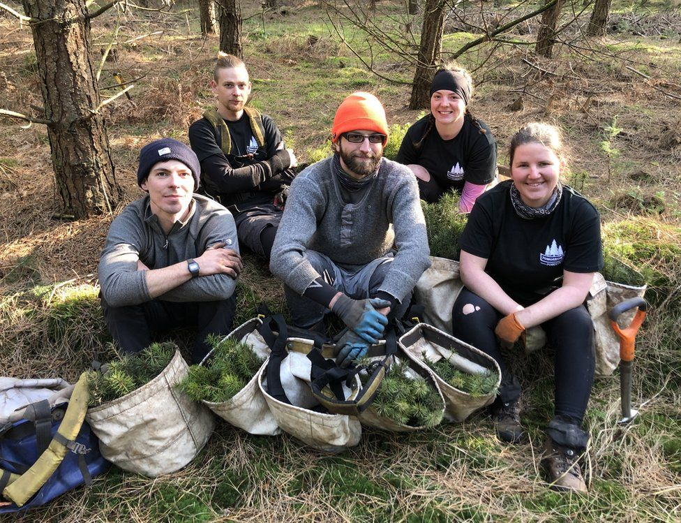 Tree planters resting in Thetford Forest