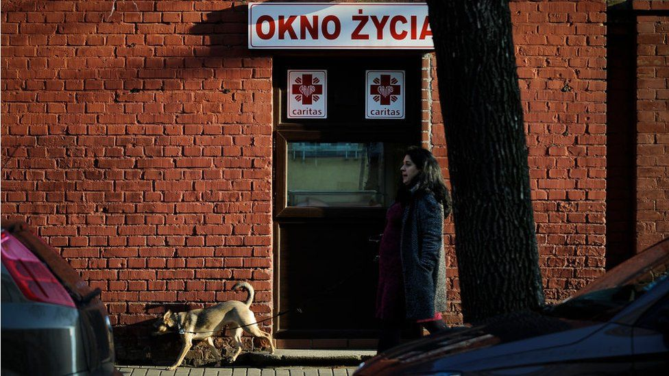 A baby hatch with the words Window of LIfe is seen on Hoza street in Warsaw, Poland on April 2, 2018