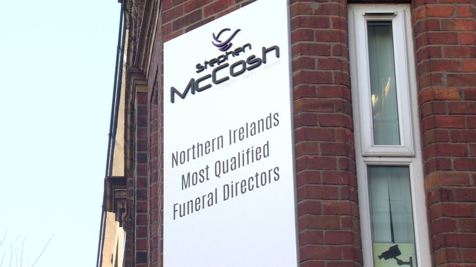Sign at Stephen McCosh's funeral parlour