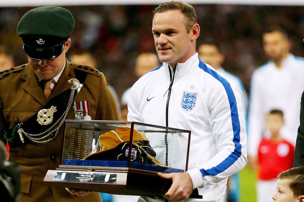 Wayne Rooney with his 100th England cap