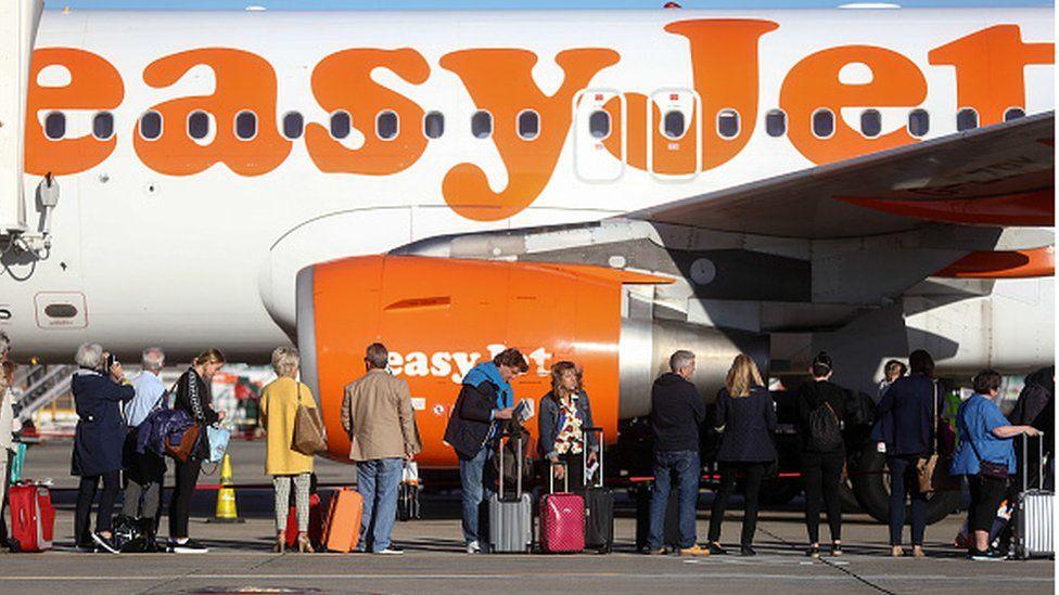 EasyJet passengers wait to board aircraft