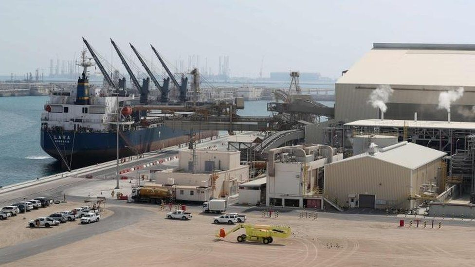 "The Ras Laffan Industrial City, Qatar""s principal site for production of liquefied natural gas and gas-to-liquid"