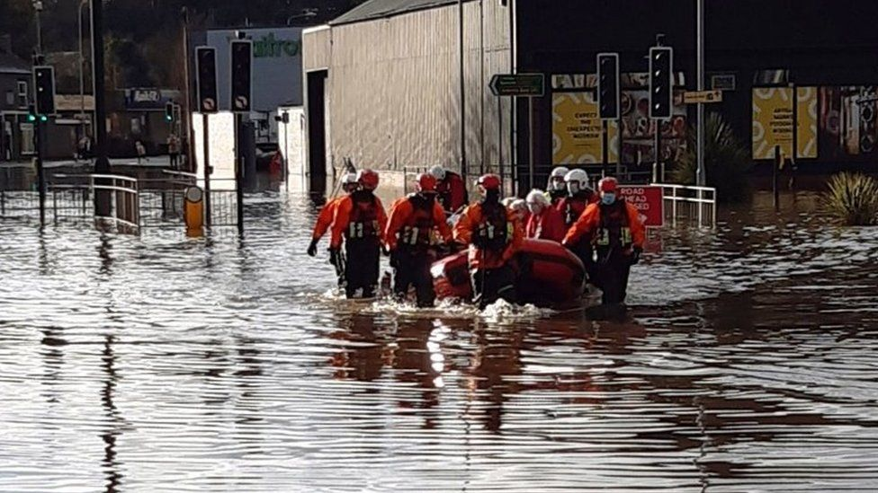 Emergency services evacuating retirement village, Weaver Court, in Northwich in Cheshire
