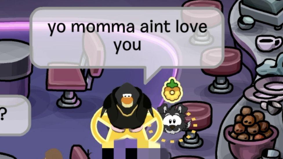 penguin saying 'yo momma aint love you'