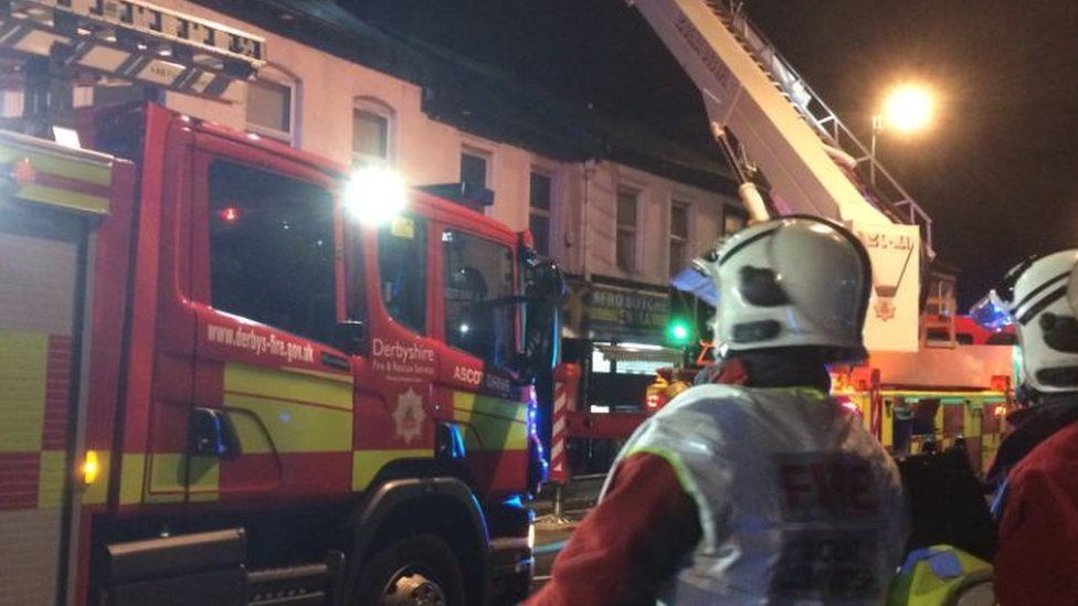 Firefighters at the fire in Normanton