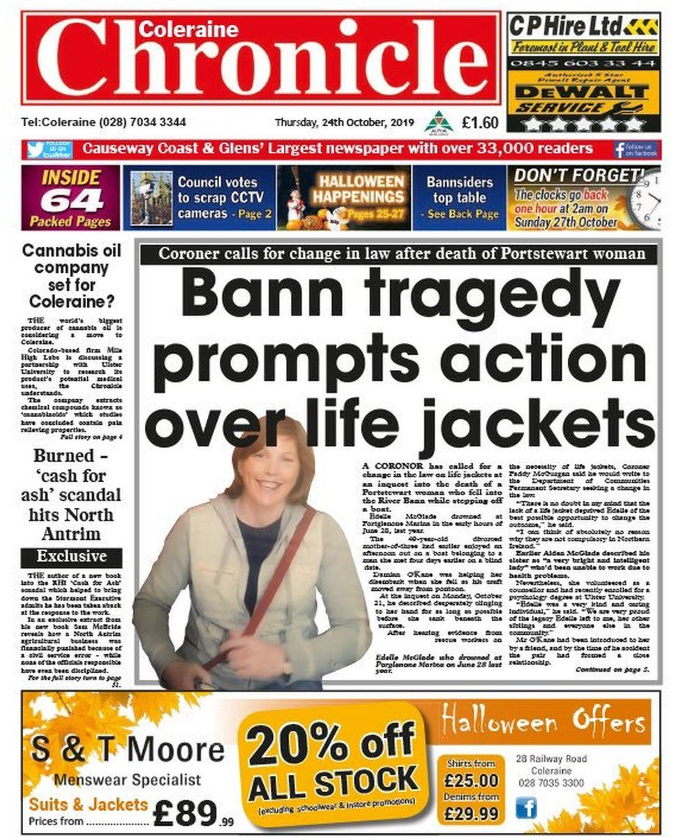 Coleraine Chronicle front page