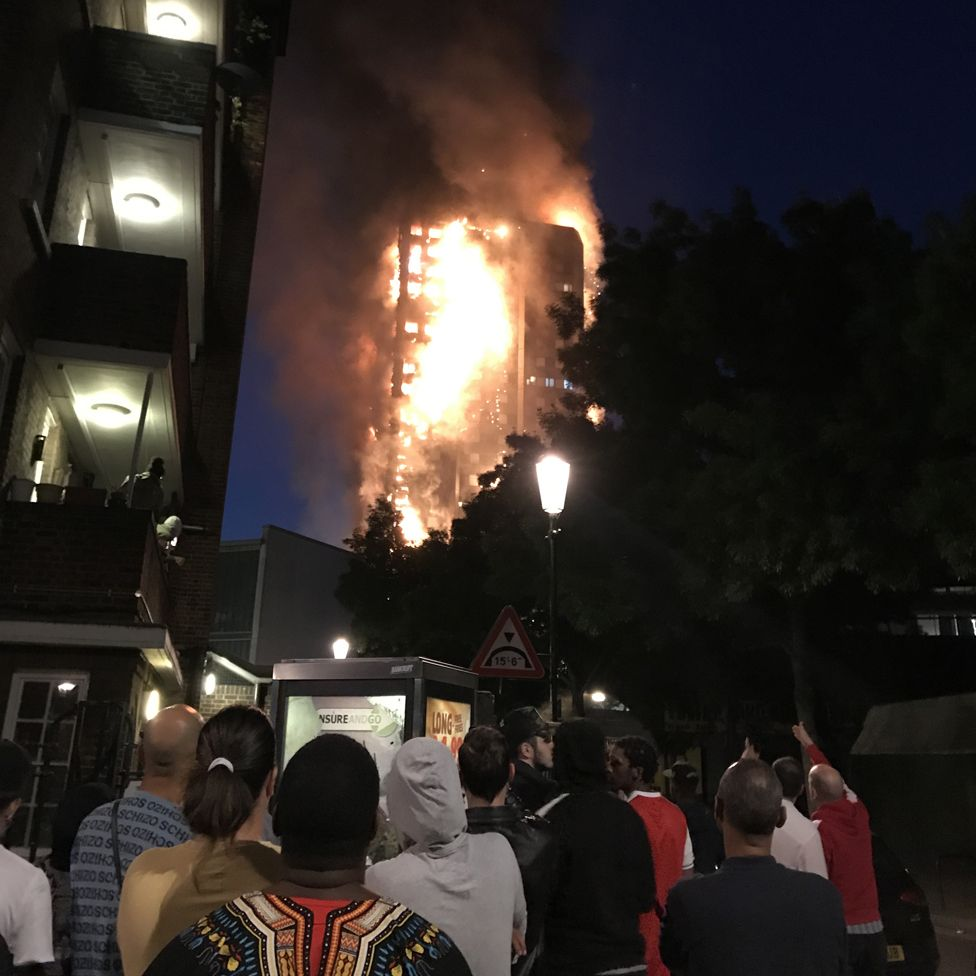 Bystanders watching the fire