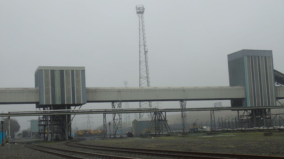 The coal is taken on huge conveyors into the power plant